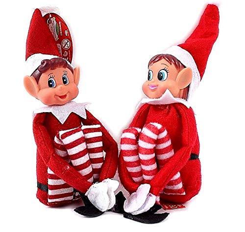 Glow Figuren-Set mit 2 frechen, kleinen Weihnachtselfen, verspielte Elfenfigur mit weichem Körper, Vinyl-Gesicht, Klett-Hände, Geschenk