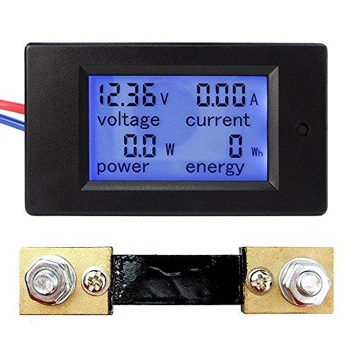 uniquegoods DC6.5-100V 4 in 1 LCD-Anzeigen-Digital-Strom Spannung Energien-Energie-Meter-Multimeter Amperemeter Voltmeter mit Strom Shunt (0-100A)