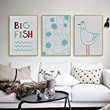 CNHNWJ Moderno Pequeño Fresco Simple Sea Fish Seagull A4 Lienzo Pintura Wall Art Print Poster Set Picture Home Wall Decor (40x60cmx3 / sin Marco)