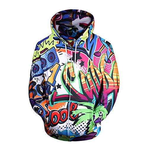 ELNOCSON Hombre Sudaderas con Capucha 3D Divertida Hoodie con Mangas Largas Unisex Streetwear Sudadera Deportiva con Cordón (Color, XXL)