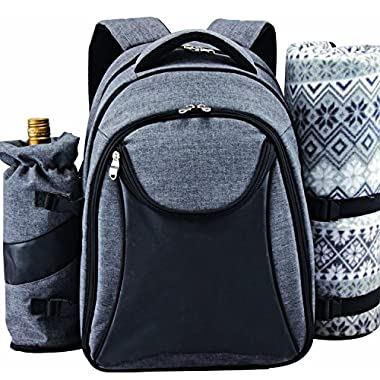 Scuddles Picnic Backpack Basket Wine Cooler | for 4 with Complete Tableware Set, Waterproof Fleece Picnic Blanket & Detachable Insulated Cooler, Perfect for Family Picnic
