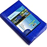 6X8 Waterproof Multi-Purpose Poly Tarp – Blue Tarpaulin Protector for Cars, Boats, Construction Contractors, Campers, and Emergency Shelter. Rot, Rust and UV Resistant Protection Sheet