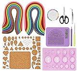 Kit di strumenti per quilling, 800 strisce, 40 colori, 3/5 mm e 8 tipi di carta Quilling fai da te, set di strumenti per quilling di carta