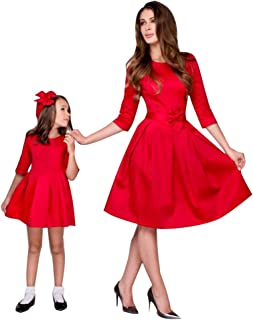 Mother and Daughter Dresses Cocktail Parent-Child Outfits with Bow