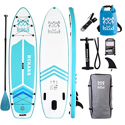 RCKAKS Inflatable Stand Up Paddle Board 10'6'x32'x6' Surfing SUP Boards with Bottom Fin for Paddling & Surf Control | Non-Slip Deck, Leash, Paddle, Pump, Backpack, Youth & Adult