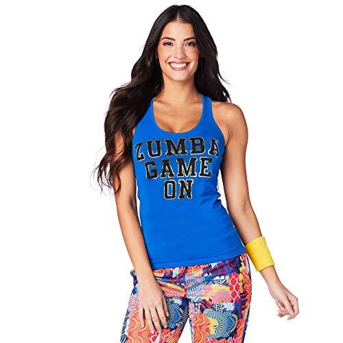 Zumba Dance Fitness - Camiseta de tirantes transpirable para mujer, color azul