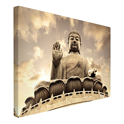 Leinwandbild - Großer Buddha Sepia - Quer 2:3, 80cm x 120cm