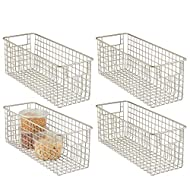 """mDesign Narrow Farmhouse Decor Metal Wire Food Storage Organizer Bin Basket with Handles for Kitchen Cabinets, Pantry, Bathroom, Laundry Room, Closets, Garage - 16"""" x 6"""" x 6"""" - 4 Pack - Satin"""