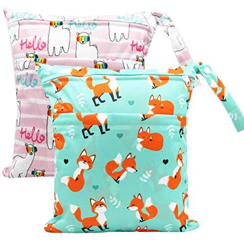ZEDEEN Bolsas húmedas para bebé con asa 2 bolsillos lavables y reutilizables, bolsa de viaje seca húmeda para piezas de mama, pañales de tela o bañadores sucios Yoga Gym Bag 2 Pack (Fox & Llama)