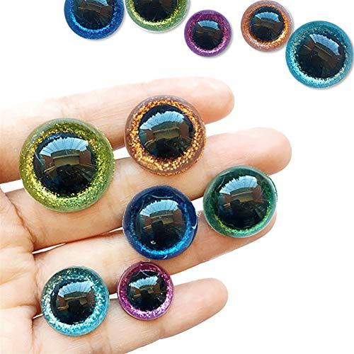 JCNVT 20pcs 3D Brillo de Felpa de plástico de Felpa Ojos de Seguridad para Juguetes para amigurumi muñeca Haciendo Ojos para muñecas Mezcla Animal 14/16 / 18/20 / 22mm Materiales Hechos a m
