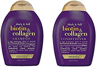ogx® (Antes organix) Thick & Full Biotina Collagen Champú 385 ml + Conditioner/acondicionador 385 ml – para dichteres y Ca...