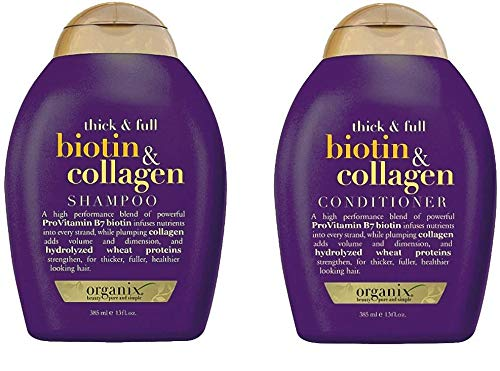 ogx (Antes organix) Thick & Full Biotina Collagen Champú 385 ml + Conditioner/acondicionador 385 ml – para dichteres y Cabello brillante