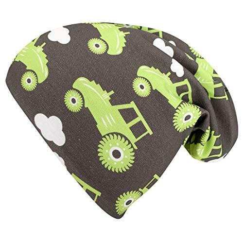 Wollhuhn 20197777 - Gorro de Lana para niño, diseño de Tractor, Color Verde