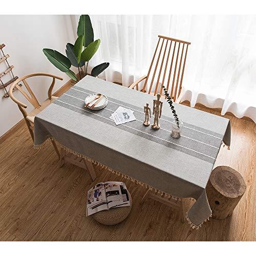 Tenrany Home Nappes de Table Basse Carreaux en Tissu Coton Lin Table Cloth mit Tassel, Rectangulaire Table Cover pour la Décoration de Table de Cuisine Salle à Manger (Frange Grise, 140 * 180 cm)