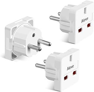 AIEVE 3 stuks UK naar EU adapters, UK type G 3-pins naar Duitsland/Europa 2-pins reisstekker stekker adapter stekker (wit)