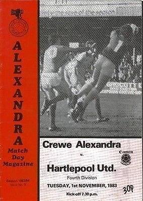 Crewe Alexandra Hartlepool United 01/11/83 GRESTY Road football programme