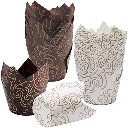 Youery 100Pcs Tazas de Papel de Pastel de Tulipán,Forma de Tulipán a Prueba de Grasa,Capsulas Reposteria,Papel para Magdalenas Muffins Cupcakes,para Cafeterías,Pastelerías,Casas