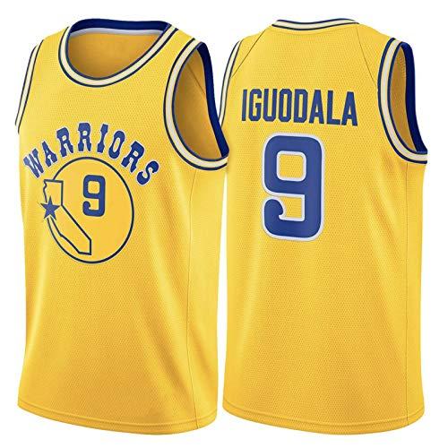 WLXA Andre Iguodala Jerseys, Golden State Warriors # 9 Camisetas De Baloncesto para Hombre, Cool Tela Transpirable Swingman Chaleco Sin Mangas Top Unisex Sudadera Transpi Yellow-L