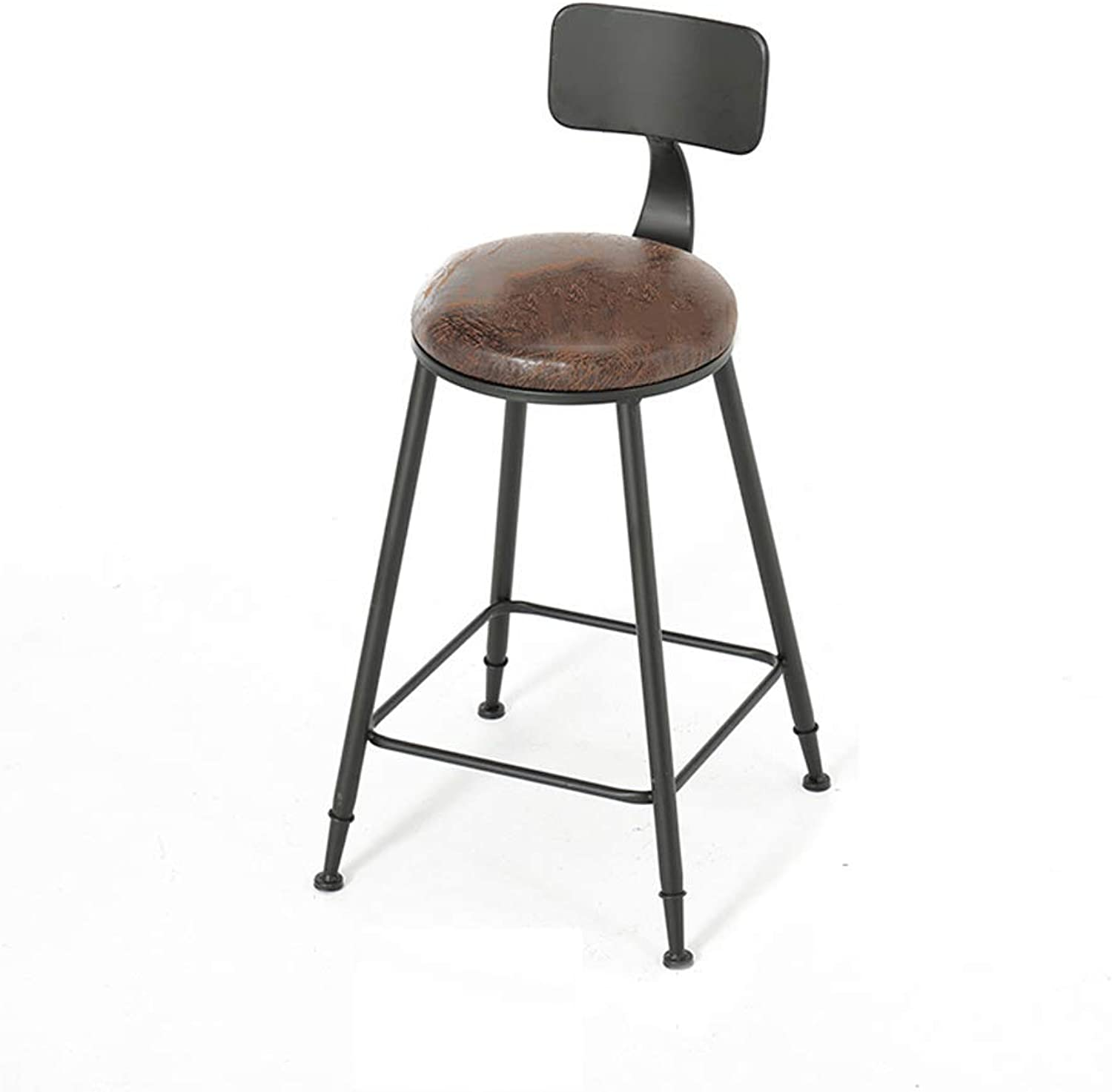 SYF Barstools Iron High Chair Personality Bar High Stool Solid Wood Bar Stool Modern Minimalist Bar Stool Bar Chair A+ (Size   45CM)