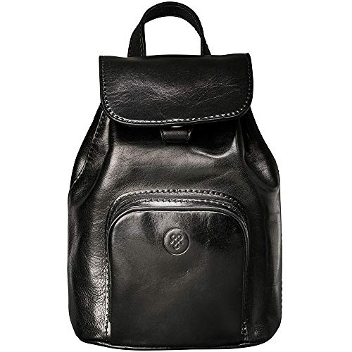 Maxwell-Scott Italienischer Damen Luxus Leder Rucksack Popolo in Schwarz