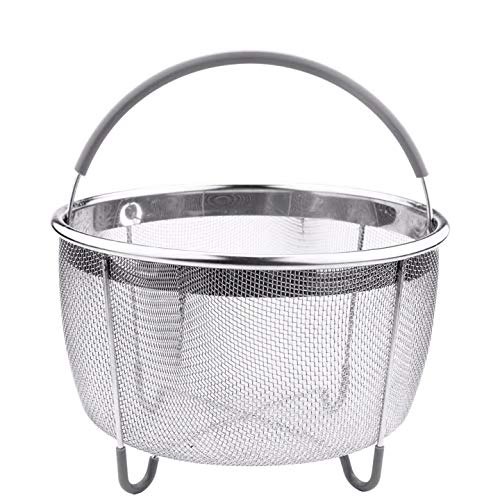 TOCYORIC Original Steamer Basket for Pressure Cooker Accessories 6qt or Larger. Compatible with Instant Pot Accessories Ninja Foodi, Strainer Insert with Silicone Handle, IP 6 Quart