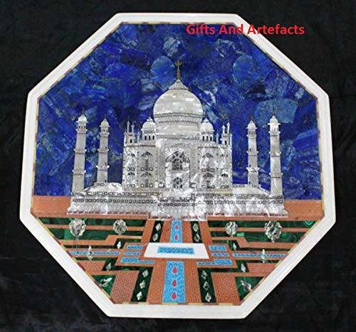 Geschenken En Artefacten Octagon Marmeren Patio Zijtafel Top Sofa Bijzettafel Met Taj Mahal Replica Inlaid Werk Erfgoed Ambachten Gemaakt Van India, 18 Inches