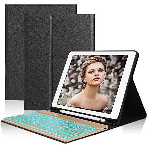 D DINGRICH Tastatur Hülle für ipad 2018, ipad 2017, ipad Pro 9.7, ipad Air 1, ipad Air 2, Hinterleuchtet- QWERTZ Tastatur- Stifthalter- Magnetisch Schlaf/Wach- iPad Hülle mit Tastatur - Dunkelblau