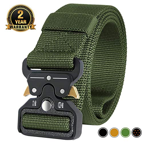 Review MOZETO Men's Tactical Belt, Military Nylon Web Rigger Cobra Work Carry Tool Belts for Men wit...