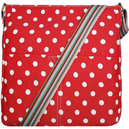 Miss Lulu Women Cross Body Bag Canvas Messenger Bags Polka Dots Teenagers Satchel Schoolbag for Girls (Red)