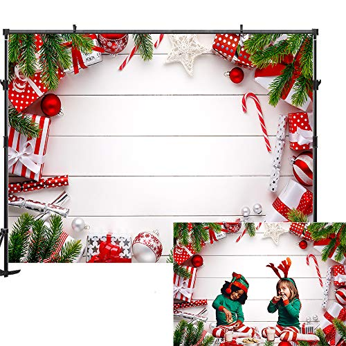 Allenjoy 7x5ft White Wooden Christmas Backdrop Kids Christmas Photo Backdrop Green Branch Gift Christmas Backdrops for Photography
