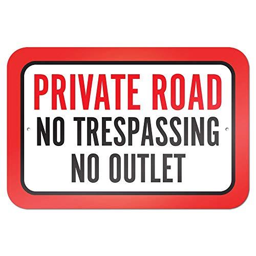 """Cartel de metal para decoración de pared, diseño retro con texto en inglés """"Private Road No Trespassing No Outlet"""