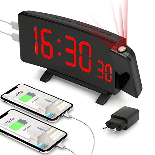 PEYOU Projektionswecker, Große 7'' LED Digital Wecker mit Projektion, Snooze, Dual-Alarm, 2 USB-Anschluss, 5 einstellbare Helligkeiten, 12/24 Stunden Funkwecker mit Projektion und Adapter, Reisewecker