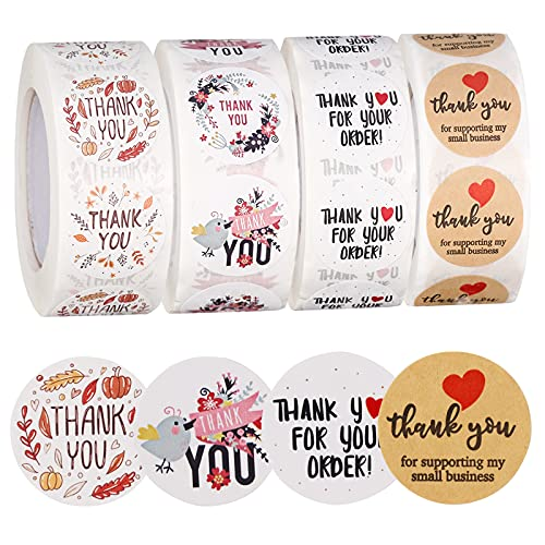 Thank You Stickers Small Business - 4 Rolls 2000 Pieces Thank You for Supporting My Small Business Stickers Labels for Envelopes, Bubble Mailers and Gift Bags Packaging , 1 Inch,500 Pieces Each Roll