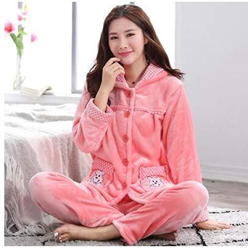 Osane Donne Pajames Long Sleeves Homewear Casual Nightbag Girls Winter Warm Sleepwear, 10, M