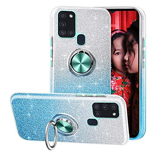 Compatible con el Estuche Samsung Galaxy A21S,Funda de teléfono Brillante 3 en 1,Anillo Giratorio de 360 ° para Soportes magnéticos para automóvil,adecuadoSamsung Galaxy A21S-Azul