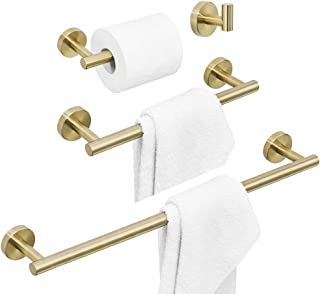 BATHSIR 4 Piece Luxury Brushed Gold Bathroom Hardware Set, Including Stainless Steel 24 Inch Towel Bar Toilet Paper Holder 12 Inch Towel Holder and Clothes Hook