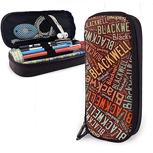 Blackwell - Apellido americano Estuche de lápices de cuero de gran capacidad Estuche de lápices Estuche de papelería Organizador Bolígrafo de maquillaje portátil Bolso de cosméticos portátil