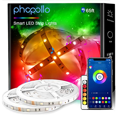 Phopollo Smart Led Lights for Bedroom, 65ft Led Light Strips Music Sync House and Holiday Decoration