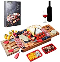 Hecef Acacia Wood Cheese Board Set, Square Cheese Platter with 2 Slide-Out Drawers& Cutlery Set& Snack Plates& Marble...