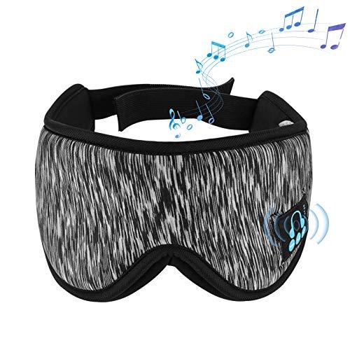 3D Bluetooth Augenmaske, Bluetooth Schlafmaske Kabellose 5.0 Bluetooth Musik Schlafmaske, Waschbare Freisprech Schlafmaske mit integriertem Lautsprecher und Mikrofon