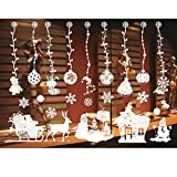 ODJOY FAN Weiß Entfernbar Fenster Aufkleber Weihnachten Wandtattoos Restaurant Einkaufszentrum Dekoration Wandbilder Schnee Glas Wandaufkleber(C,1 PC)