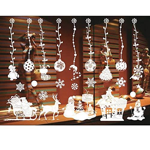 ODJOY-FAN Weiß Entfernbar Fenster Aufkleber Weihnachten Wandtattoos Restaurant Einkaufszentrum Dekoration Wandbilder Schnee Glas Wandaufkleber(C,1 PC)