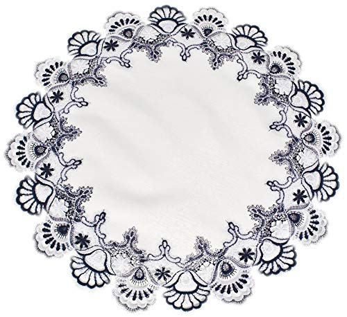 White Navy Blue Jacquard Peacock Tail Lace Doily Place Mat Table Centerpiece Table Topper 23 inches Round