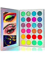 Kalolary Neon paleta cieni do powiek Glow In The Dark, 24 kolory wysoko pigmentowane cienie do powiek, paleta cieni do powiek do powiek, matowa, zestaw do makijażu z brokatem