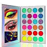 Kalolary Neon Paleta de sombras de ojos que brilla en la oscuridad, 24 colores Paleta de maquillaje de sombras de ojos altamente pigmentadas, Kit de maquillaje con brillo y brillo UV Blacklight