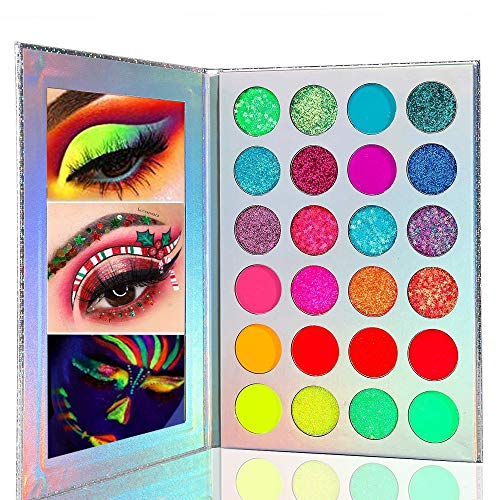 Kalolary Neon Lidschatten-Palette Glow In The Dark, 24 Farben Hochpigmentierte Lidschatten-Make-up-Palette, UV-Glow Blacklight Matte und Glitter Makeup Kit