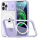 Funda Transparente Compatible con iPhone 12 Pro MAX 6.7' MagSafe [con Protector Cámara] [9X Fuerza Atracción magnética] Carcasa Magnética Silicona Antigolpes Anti-Arañazos Parachoques de TPU Violeta