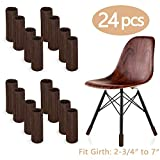 LimBridge 24pcs Chair Socks, Elastic Wood Floor Furniture Chair Leg Feet Protectors Covers Caps Set, Fit Girth from 4' to 7', Vertical Knitted Brown