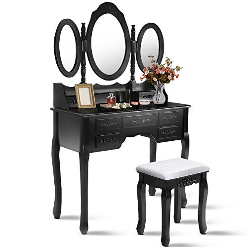 Giantex Tri Folding Oval Mirror Wood Bathroom Vanity Makeup Table Set with Stool &7 Drawers (Black)