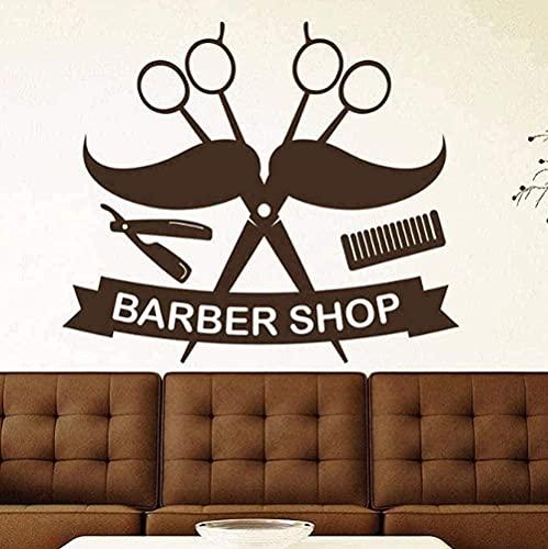 Pegatinas De Pared Calcomanías De Arte Decorativo Barbería Salón Tijeras Bigote Artículos Para El Hogar Barbero Dedicado A Barbería Arte 42X49Cm